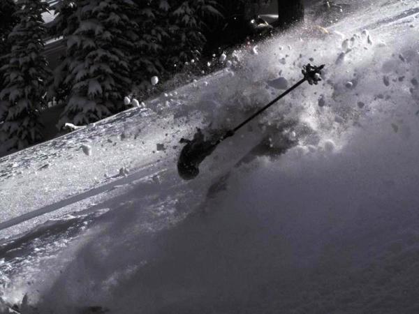 Jenn skiing deep powder at Lake Tahoe