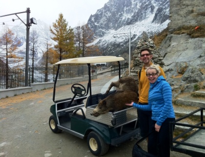 Dead animals in golf carts at the Montenvers