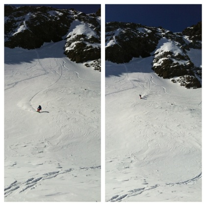 Two boards, two guys, one slope
