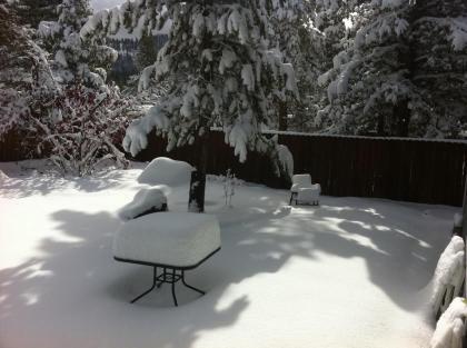 Backyard furniture under snow | Lake Tahoe