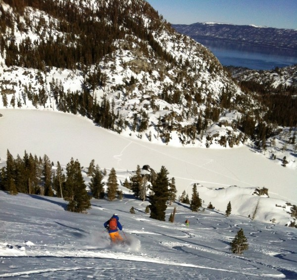 Backcountry skier above Lake Tahoe